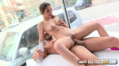 Spanish Bitch Jimena Lago gets fucked in a truck at sight of everybody